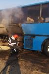 Un autocar în care se aflau 21 de copii a luat foc, în comuna George Enescu - FOTO
