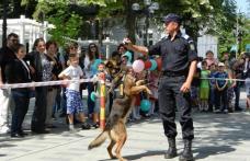 """Mulţi copii, câţiva jandarmi şi câinii de serviciu Tih şi Micag pe pietonalul """"Grigore Ghica"""" din Dorohoi - FOTO"""