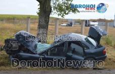 Accident pe drumul Dorohoi – Botoșani! Audi făcut zob după ce s-a izbit într-un copac - FOTO