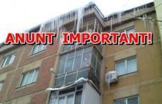 Primăria Dorohoi informează: cetățenii au obligația să îndepărteze țurțurii de pe blocurile în care locuiesc!