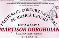 """Află programul Festivalului Național de Muzică Ușoară """"Mărțișor Dorohoian"""" 2018"""