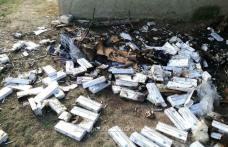 Botoșănean prins de polițiștii de frontieră în timp ce incendia țigări de contrabandă - FOTO