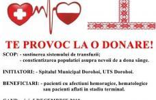 """Te provoc la """"O DONARE""""! Campanie de donare de sânge la Spitalul Dorohoi – Împreună mergem mai departe!"""
