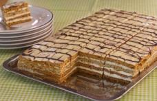 Prăjitură cu foi de zahăr ars și cremă cu ness