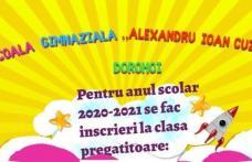 """Înscrieri în clasa pregătitoare la Școala Gimnazială """"Alexandru Ioan Cuza"""" Dorohoi"""