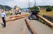 Grav accident de circulație! Buștenii dintr-un camion au căzut pe o mașină - FOTO