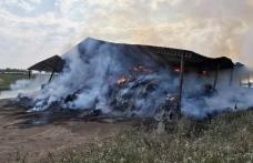 Incendiu puternic în județul Botoșani! Un depozit de furaje a fost cuprins de flăcări - FOTO