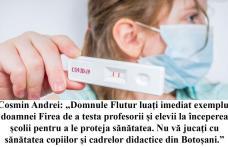 """Cosmin Andrei: """"Domnule Flutur luați imediat exemplul doamnei Firea de a testa profesorii și elevii la începerea școlii pentru a le proteja sănătatea"""""""