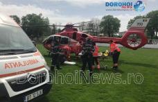 Bărbat cu fractură craniană preluat de urgență de elicopterul SMURD de la Dorohoi