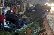 Accident la Bucecea. Patru tineri s-au răsturnat cu mașina într-o curbă