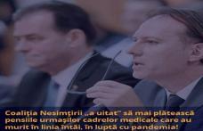 Coaliția Nesimțirii Naționale refuză acordarea pensiei celor 133 de urmași ai medicilor și asistenților decedați în linia întâi în lupta cu pandemia!