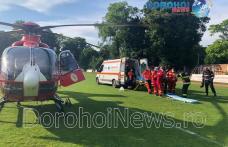 Elicopter SMURD chemat la Dorohoi pentru un bărbat din Dealu Mare care a suferit un infarct - FOTO
