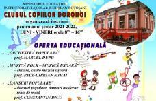 Clubul Copiilor Dorohoi organizează înscrieri pentru anul şcolar 2021-2022. Vezi detalii!