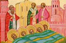 În această lună, ziua a douăzeci şi doua pomenirea aflării moaştelor sfinţilor mucenici din Evghenia, care s-a întâmplat în zilele împăratului Arcadiu