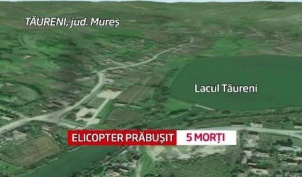 elicopter prăbuşit în lacul din localitatea Tăureni
